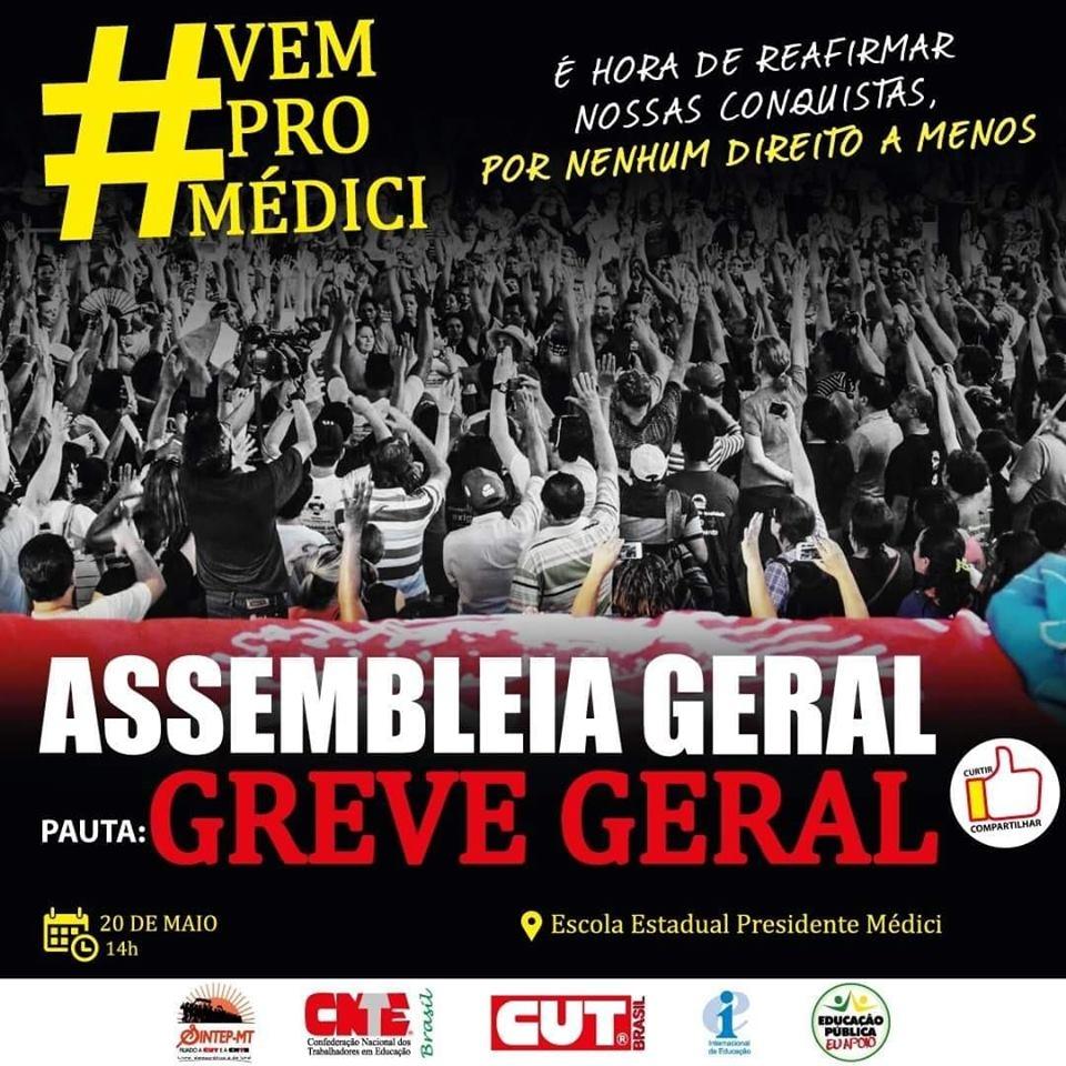 Sintep/MT realiza Assembleia Geral com indicativo de greve nesta segunda, dia 20 de maio