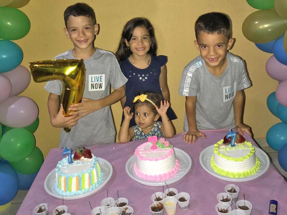 Trigêmeos de Juara comemoram 07 anos de idade com festa em família.