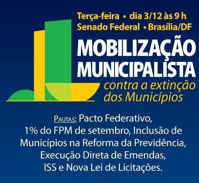 Movimento municipalista participa nesta terça de mobilização no Congresso Nacional