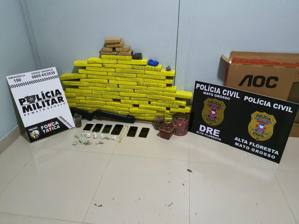 Polícias Civil e Militar apreendem 50 quilos de entorpecentes em Alta Floresta