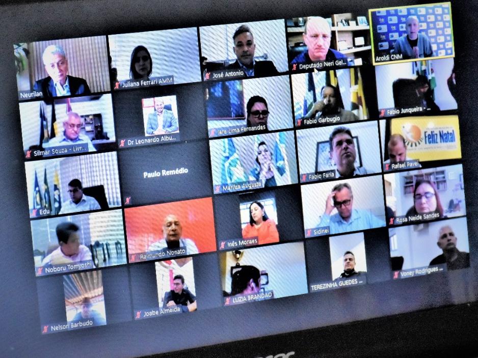Lideranças municipalistas defendem unificação de mandatos eletivos em videoconferência com a Bancada Federal