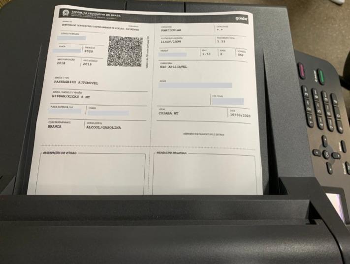Licenciamento de veículo pode ser impresso em papel A4