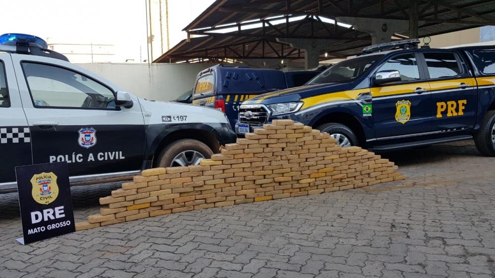 Ação da Polícia Civil em parceria com PRF resulta na apreensão de 186 quilos de pasta base, o veículo saiu de Juara e seguiria para Goiás